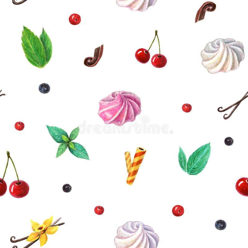 watercolor seamless sweets and berries background. Pattern of cherry, berries, mint leaves, vanilla flower, meringues, waffel and stock illustration