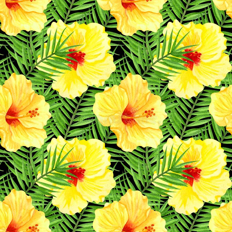 Watercolor seamless tropical floral pattern. Yellow hibiscus and palm leaves on black background. Hand drawn watercolor seamless. Pattern with colorful tropical vector illustration