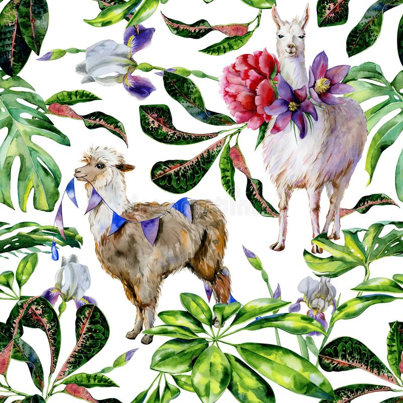 Watercolor seamless tropical pattern of alpaca with flags and cartoon llama stock photography
