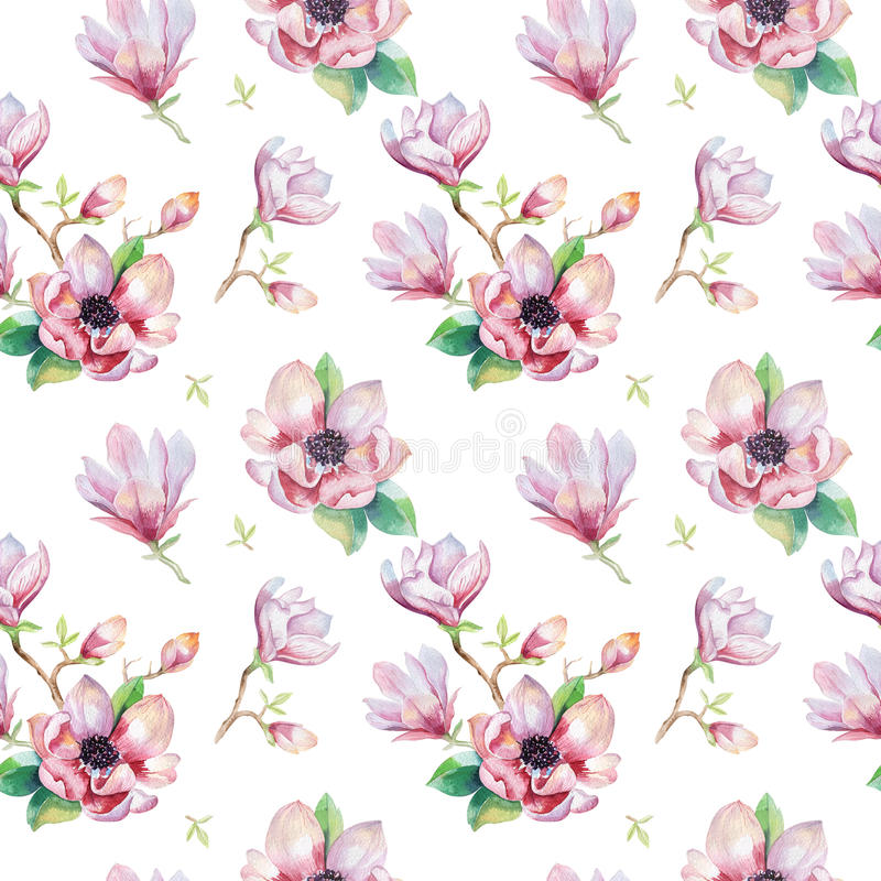 Watercolor seamless wallpaper with magnolia flowers, leaves. royalty free illustration