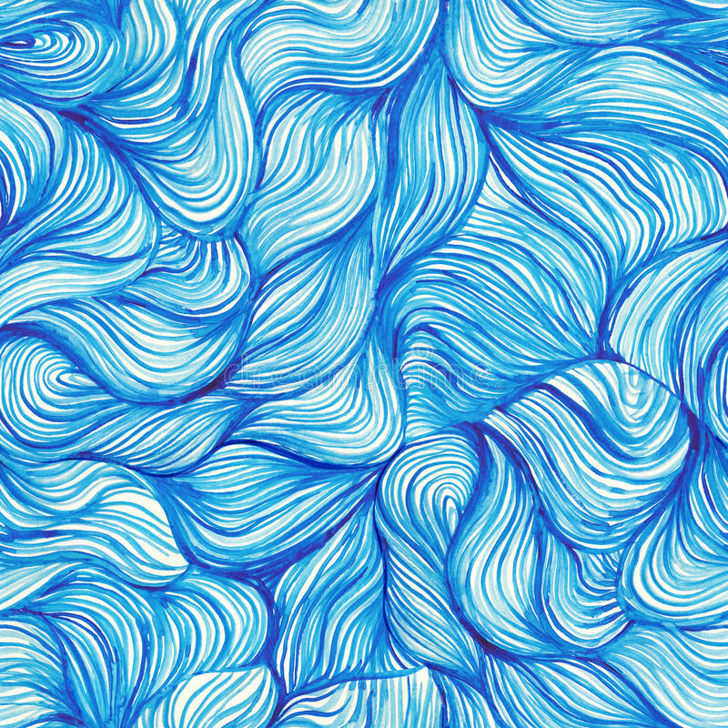 watercolor seamless wave hand-drawn pattern, background (seamlessly tiling). Watercolor blue pattern. Hair. Paints. Backdrop. vector illustration