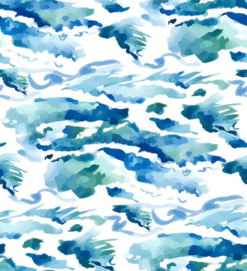 Watercolor seamless waves background. Vector watercolor bacground for design royalty free illustration