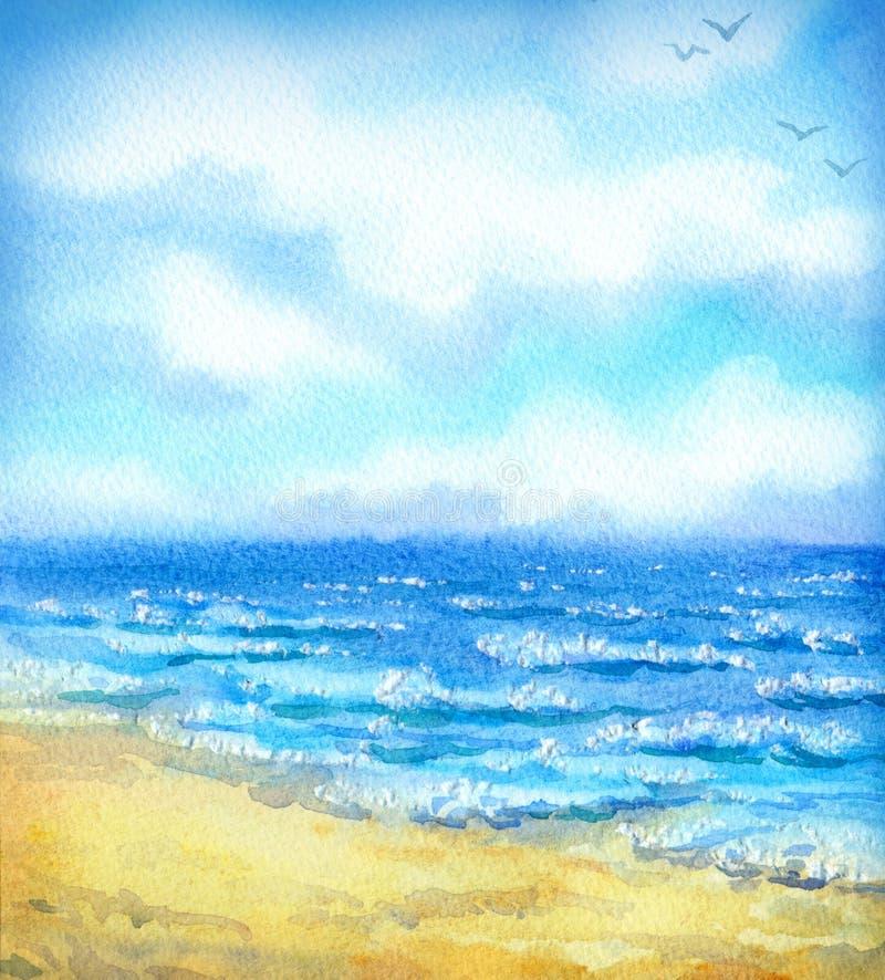 Watercolor seascape stock illustration