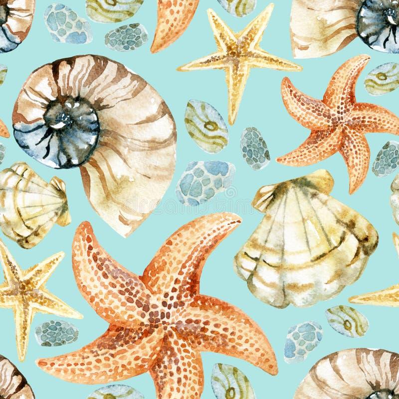 Free Watercolor Seashell Pattern Royalty Free Stock Photo - 64432375