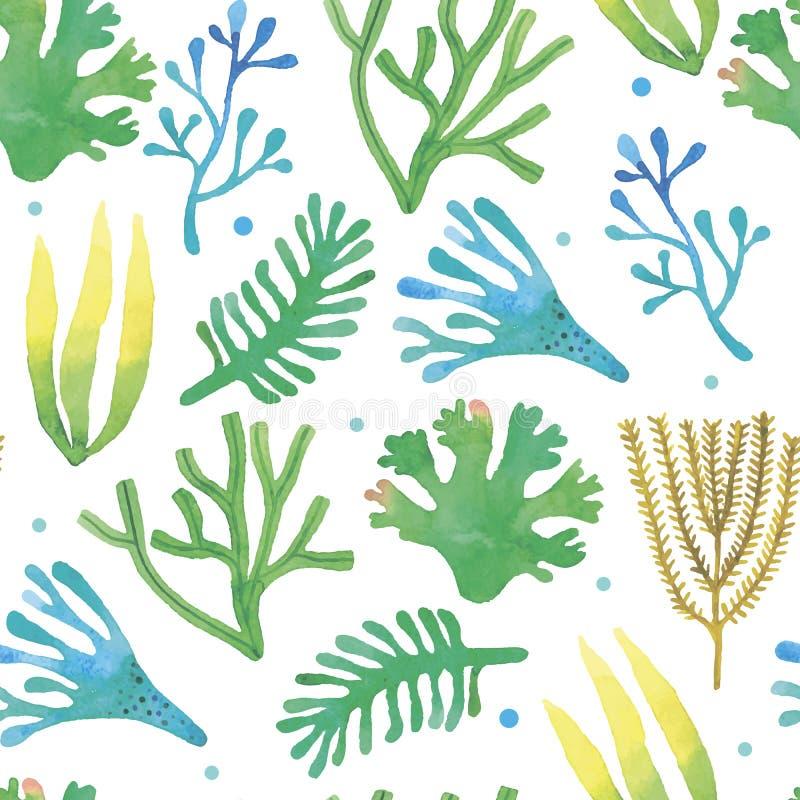 Watercolor seaweeds seamless pattern vector illustration