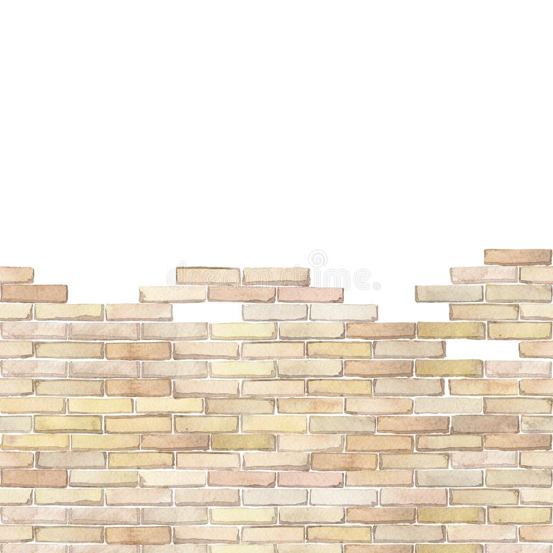 Watercolor brick wall isolated on white background. Watercolor semi built or half ruined brick wall. Hand painted Seamless border isolated on white background stock illustration