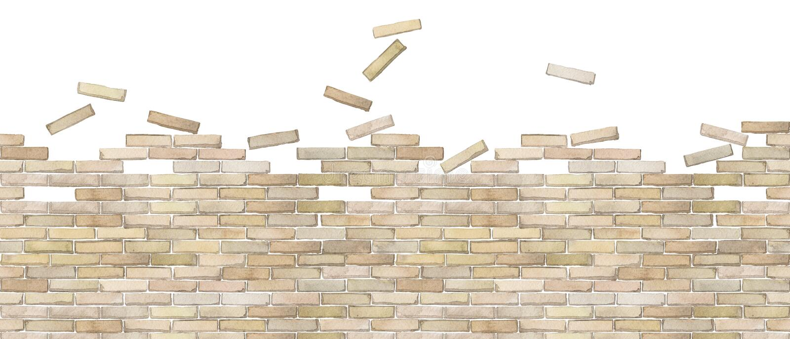 Watercolor brick wall isolated on white background. Watercolor semi built or half ruined brick wall. Hand painted Seamless border isolated on white background royalty free illustration