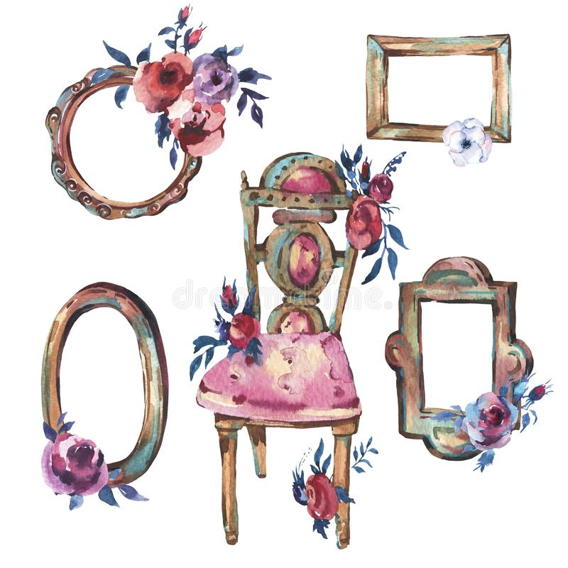 Watercolor Set of Antique Golden Wooden Frame with Flowers, ?ha royalty free illustration
