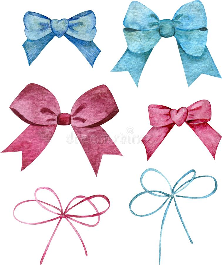 Watercolor set of blue and pink bows. Hairstyle or gift wrapping accessories. vector illustration