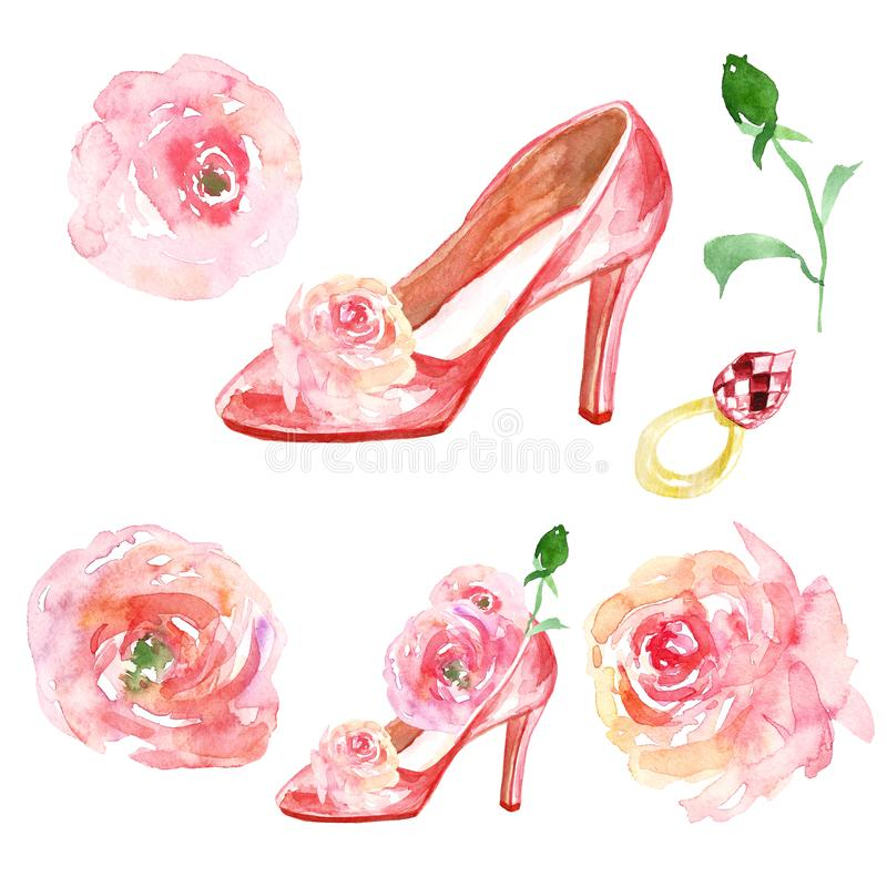 Valentines day Watercolor set with pink ladies shoes high heels, roses flowers, golden engagement ruby gemstone ring. stock illustration