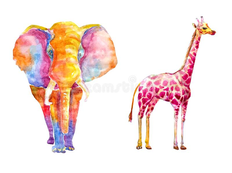 Watercolor set of bright colored giraffe and an elephant from multi-colored spots on a white background isolated vector illustration
