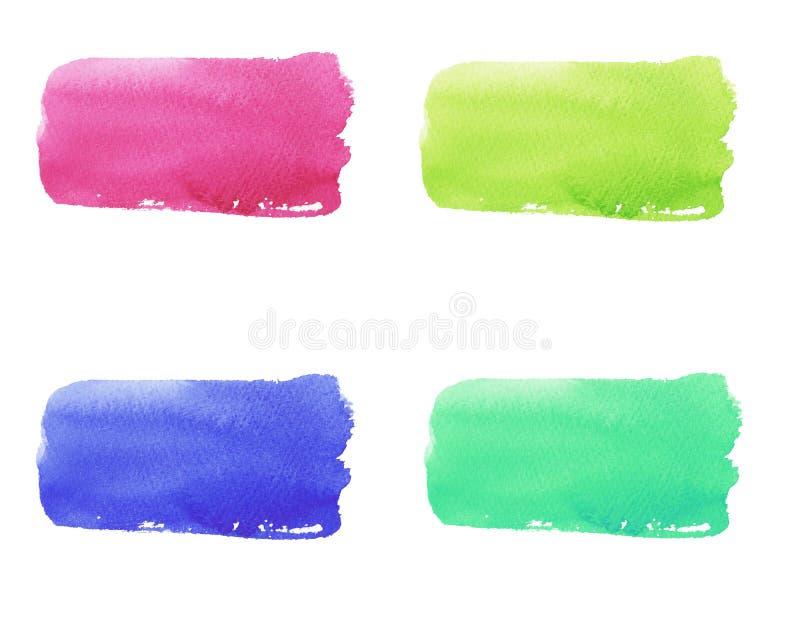 watercolor set of bright multicolor brush strokes royalty free illustration