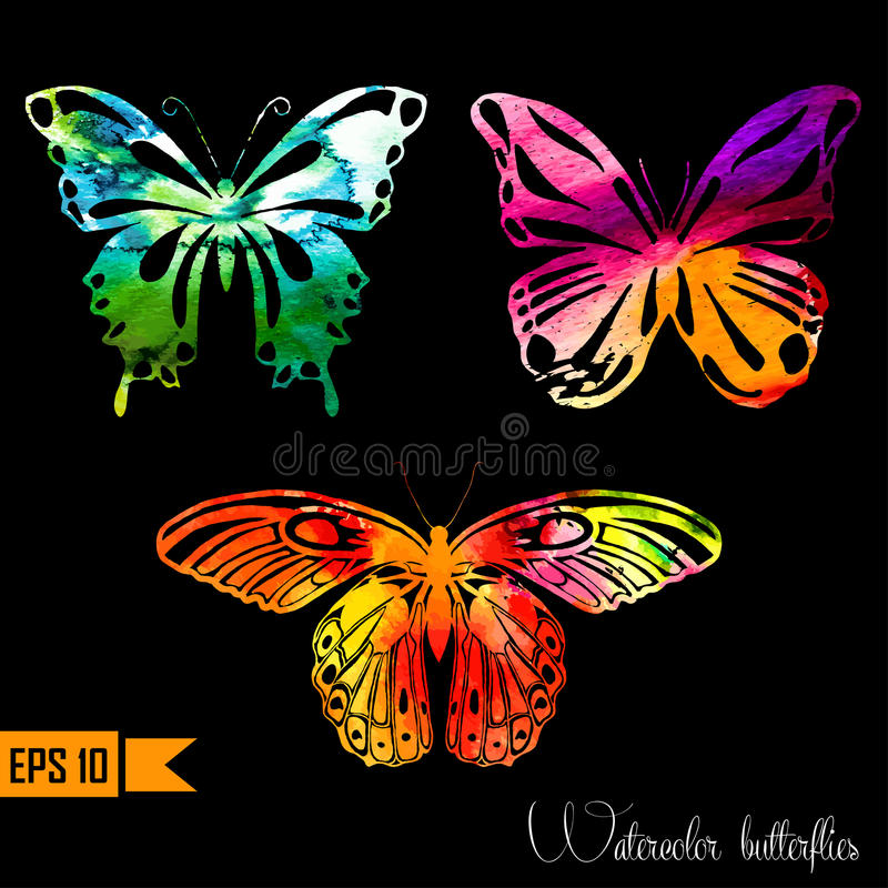 Watercolor set with butterflies. Vector vector illustration