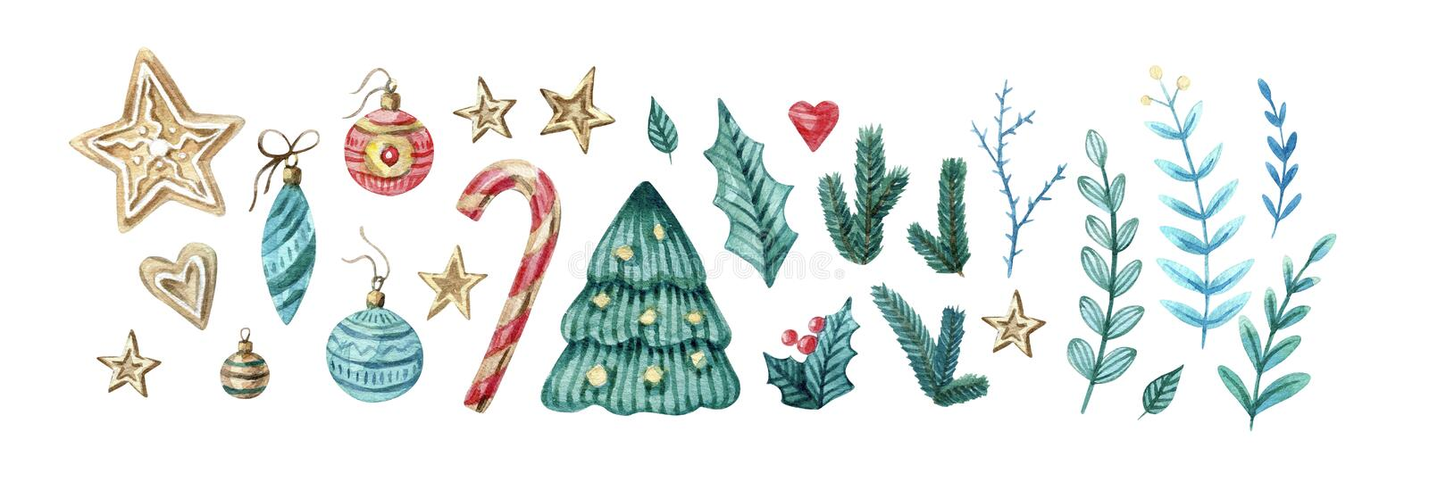 Watercolor set of Christmas and new eyear elements. Cute twigs, candies, cukies, stars, mistletoe, decorations royalty free illustration