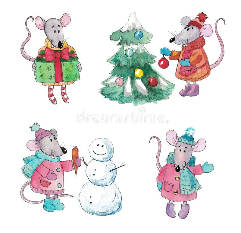 Watercolor set of Christmas rats royalty free stock photo