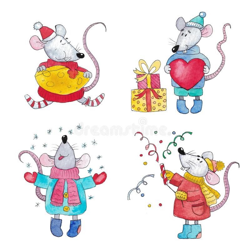 Watercolor set of Christmas rats royalty free stock photos