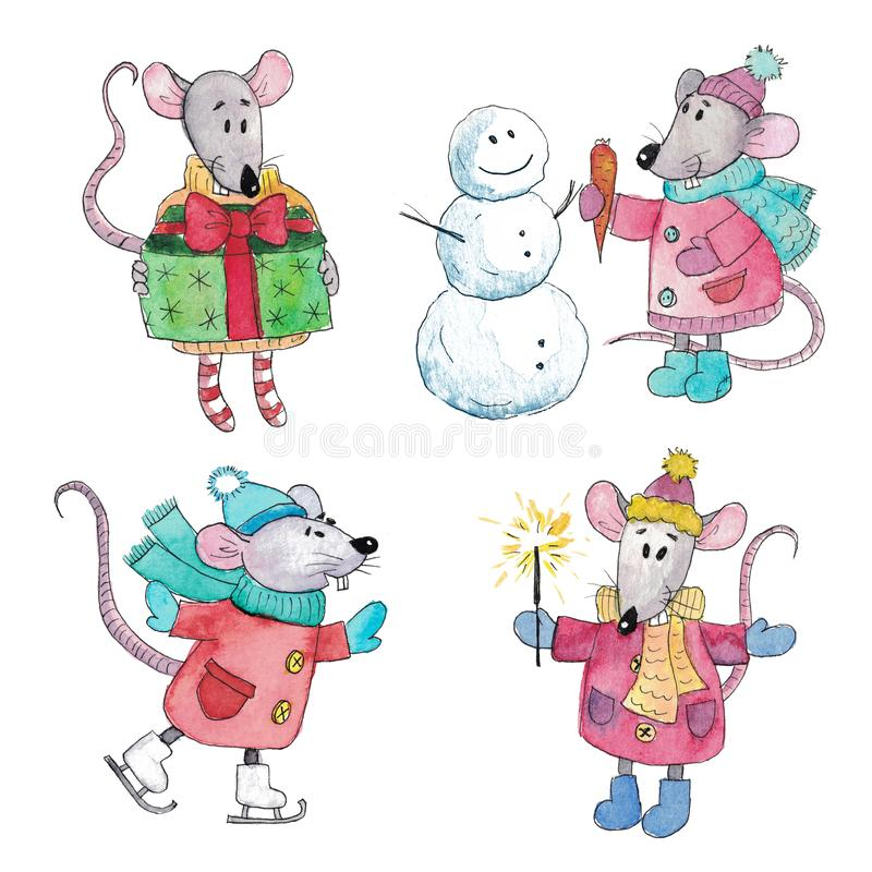 Watercolor set of Christmas rats stock photos