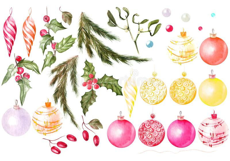 Beautiful watercolor Christmas card with Christmas gifts, toys, ornaments. A Christmas tree and cones. Watercolor Set with Christmas toys and christmas tree, a vector illustration