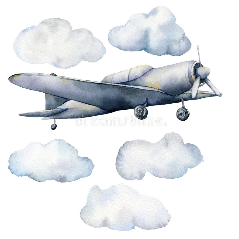Watercolor set with clouds and airplane. Hand painted sky illustration with aircraft isolated on white background. For stock illustration