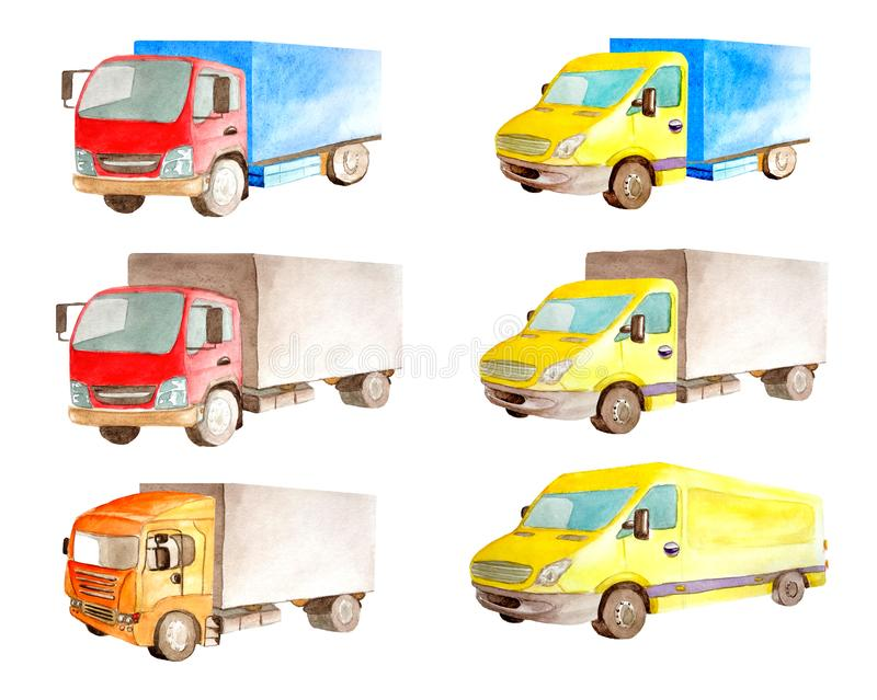 Watercolor set collection of light commercial red and yellow vehicles in white background isolated. Drawing transport truck lorry van car carrier cargo stock images