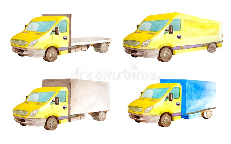 Watercolor set collection of light commercial yellow vehicles in white background isolated. Drawing transport truck lorry van car carrier cargo transportation royalty free stock images