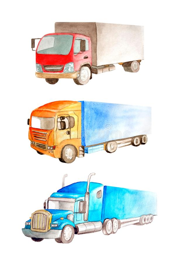 Watercolor set of a collection of trucks and tractor of different types, colors and applications. On a white background isolated for business cards, children`s vector illustration