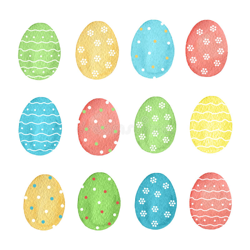 Watercolor set of colored Easter eggs. royalty free illustration