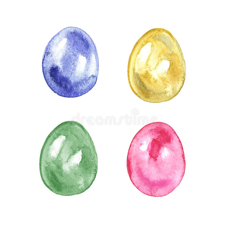 Watercolor set of colored Easter eggs on a white background. Ideal for invitations, cards, greetings, design. vector illustration