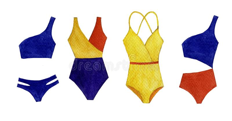 Watercolor set of colorful swimsuit, isolated objects on white background vector illustration