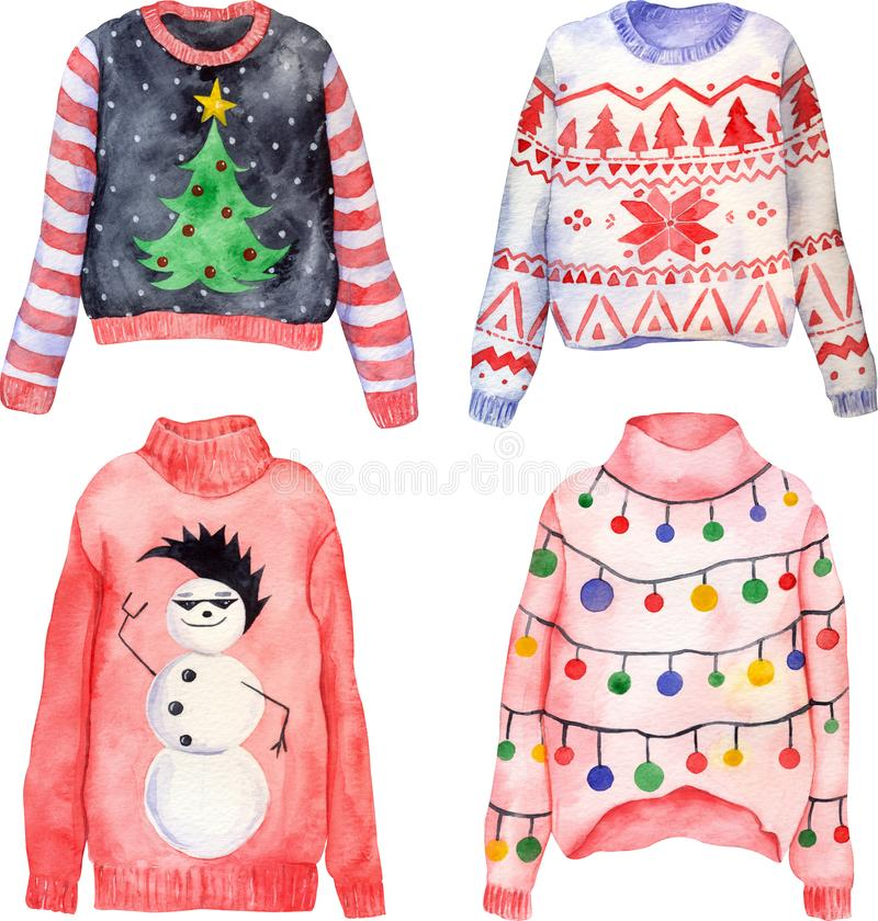 Watercolor set of cute hand drawn ugly Christmas sweaters on isolated background. Christmas jumper day clothes. Knitted pullovers with ornaments, snowman stock illustration