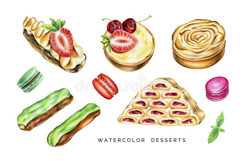 Watercolor set of delicious desserts. stock images