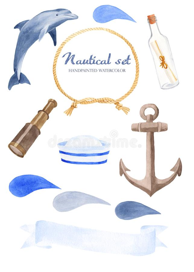 Watercolor set with a dolphin, a bottle, a telescope, a rope, an anchor, a sailor`s hat. vector illustration