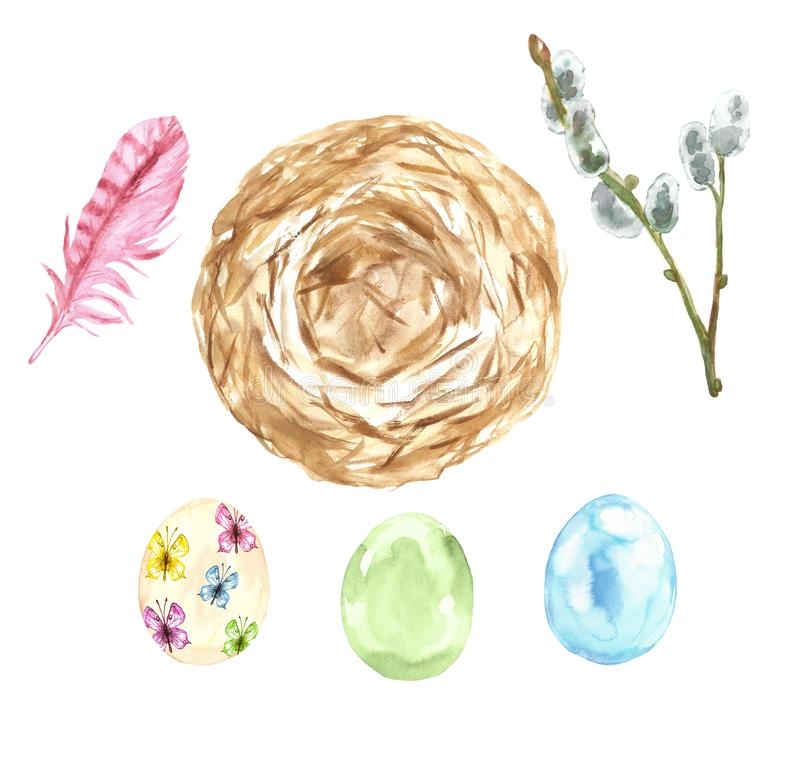 Watercolor set for Easter in pastel colors - assorted eggs, willow branch, bird nest and feather. Decorative elements symbols. Of spring, isolated on white stock images