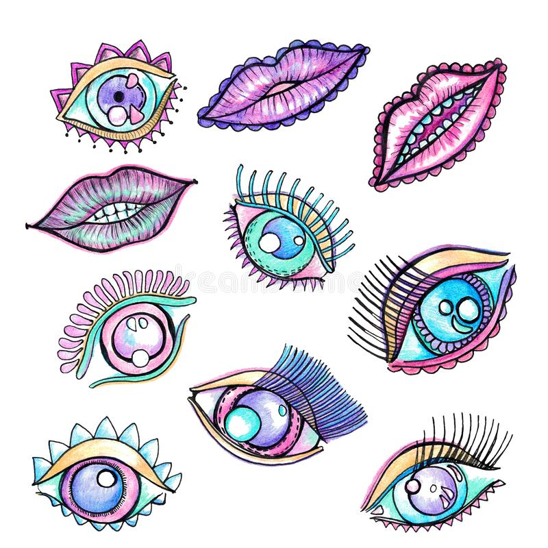 Watercolor set of fancy items eyes lips White isolated background vector illustration
