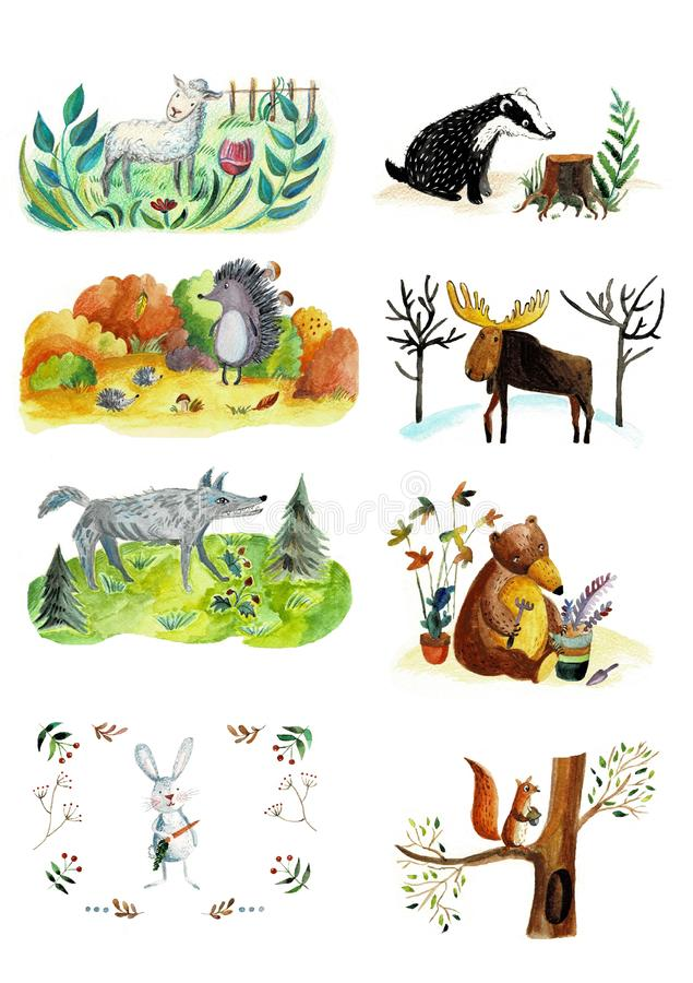 Watercolor set of forest animals and plants in a cartoon style. Hand drawn illustration isolated on a white background royalty free stock photo
