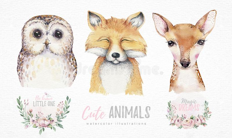Watercolor set of forest cartoon isolated cute baby fox, deer and owl animal with flowers. Nursery woodland illustration. Bohemian boho drawing for nursery royalty free illustration