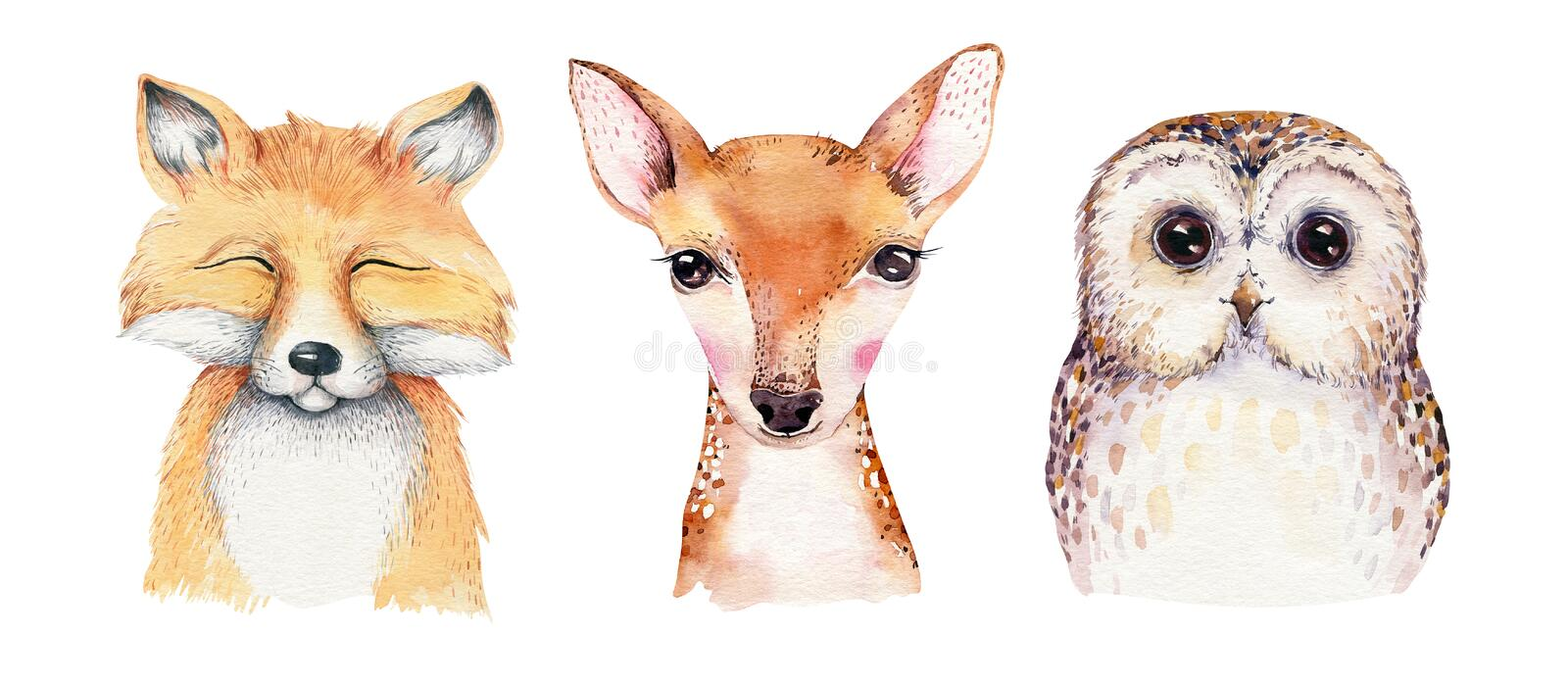 Watercolor set of forest cartoon isolated cute baby fox, deer, raccoon and owl animal with flowers. Nursery woodland stock illustration