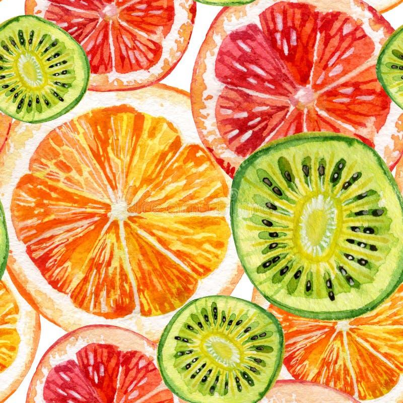 Watercolor set of fresh orange, kiwi and grapefruit. Watercolor seamless pattern with fresh orange, grapefruit and kiwifruit. Hand painted illustration stock illustration