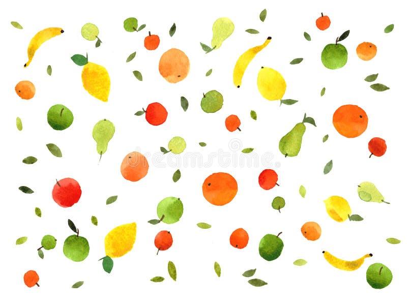 Watercolor set of fruits colorful hand-drawn fresh apples, pears, lemons, oranges, mandarins, tangerines, bananas. Fruits pattern seamless watercolor stock illustration