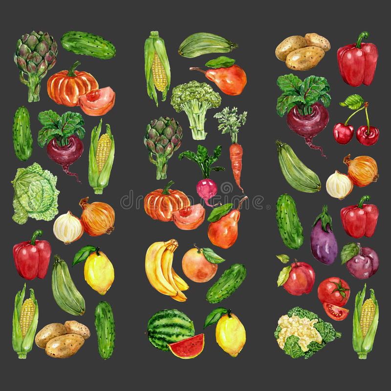Watercolor set with fruits and vegetables. Hand drawn image royalty free illustration