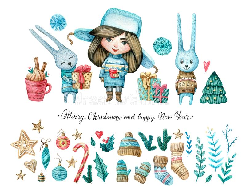 Watercolor set of girl and rabbits, Christmas and new eyear elements: twigs, candies, cukies, stars, mistletoe vector illustration