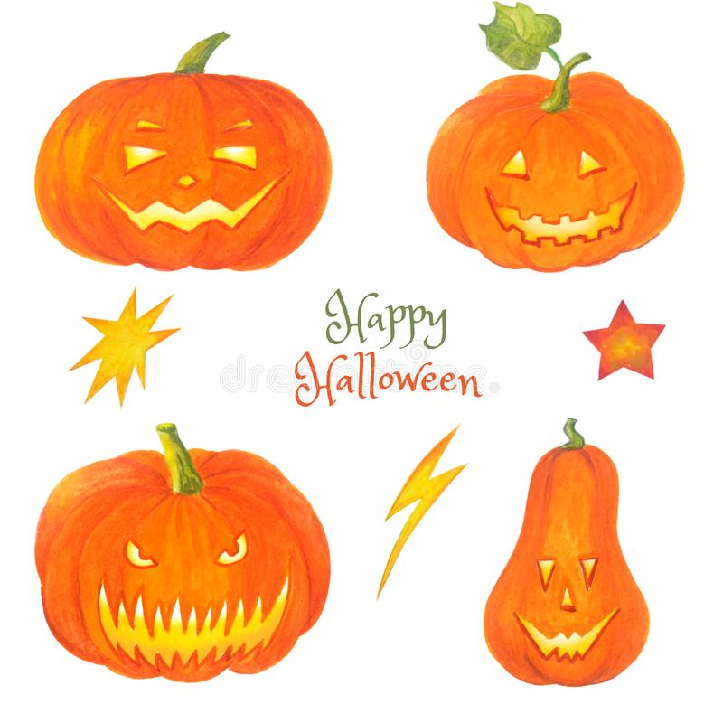 Watercolor set of halloween pumpkins. Hand drawn illustrations isolated on white background. Jack O Lantern for Happy hallowen.n vector illustration