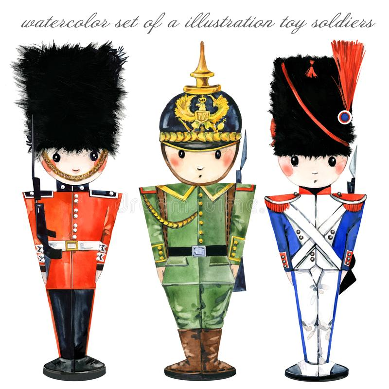 Watercolor set of a illustration toy soldiers stock illustration