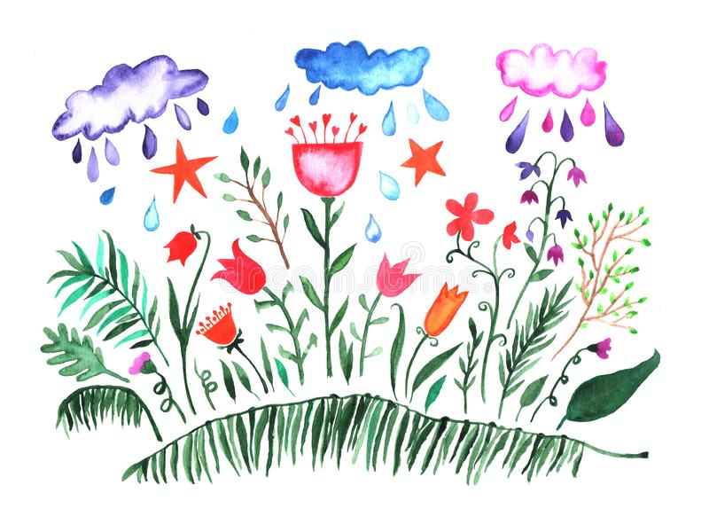 Watercolor set. Hand painted collection with leaves, flowers, clouds, rain drops and green grass. Spring or summer design elements. For greeting cards royalty free illustration