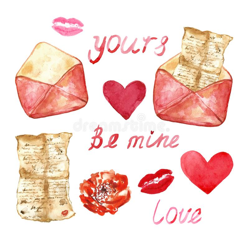 Watercolor set with hand painted elements - love letter, hearts, lips. Symbols of love in vintage style royalty free illustration