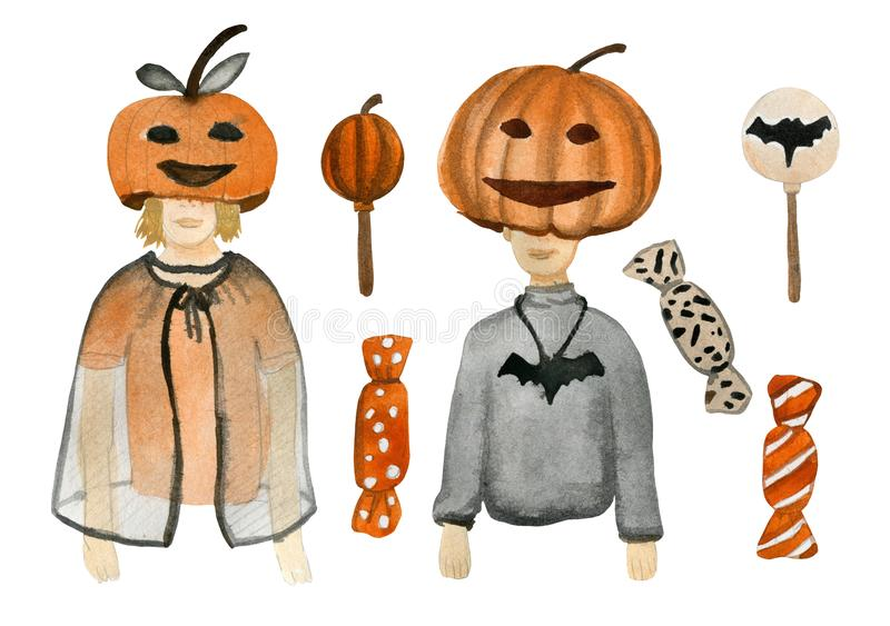 Watercolor set that includes teenagers. In masquerade costumes on the theme of Halloween, sweets and holiday stock illustration