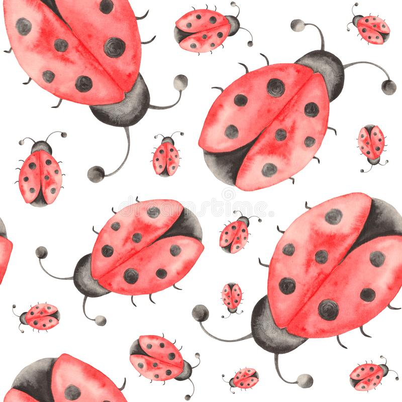 Watercolor pattern of insects, ladybugs, bedbugs, beetles with leaves on a white background. Watercolor set of insects, ladybugs, bedbugs, beetles with leaves stock illustration