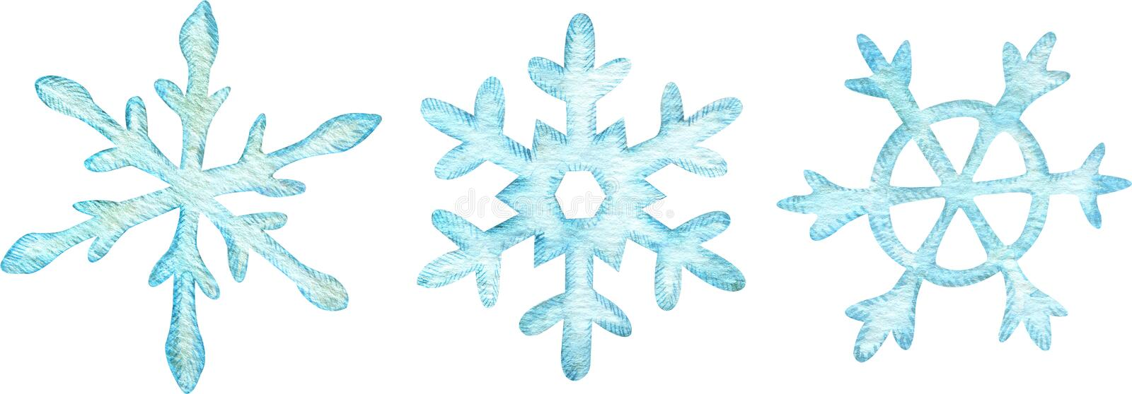Watercolor set of light blue snowflakes. Christmas design elements isolated on white background royalty free illustration
