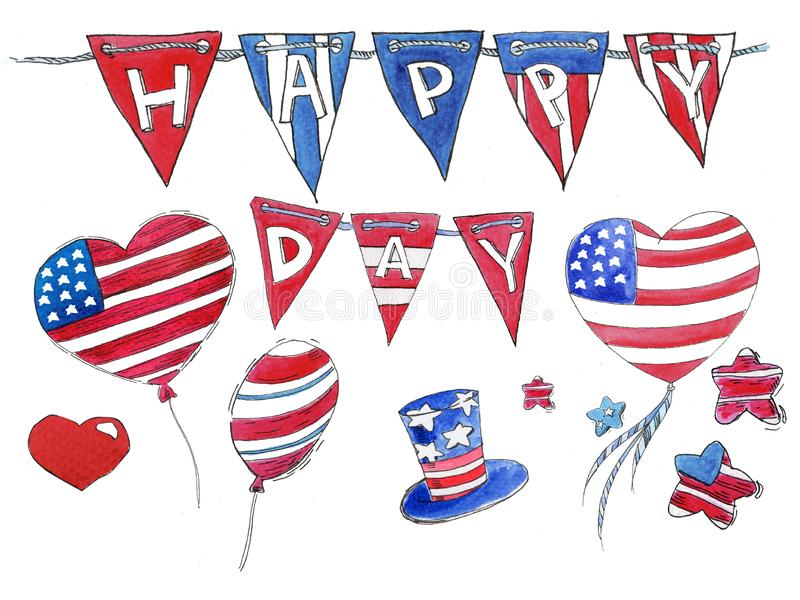Watercolor set of objects for the holiday of independence of America stock illustration