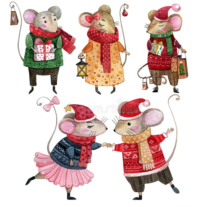Free Watercolor Set Of Christmas Mice Dressed In Winter Clothes. Royalty Free Stock Photos - 162573478